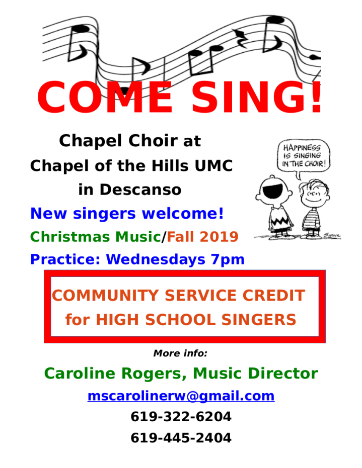 COME SING flyer