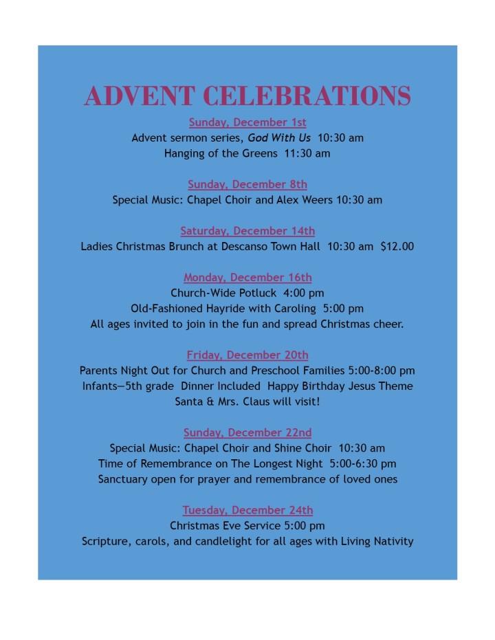 advent celebrations 2019